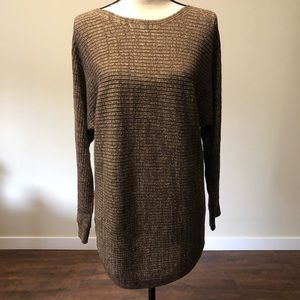 GNW Brown with Gold Sparkle Boatneck Sweater